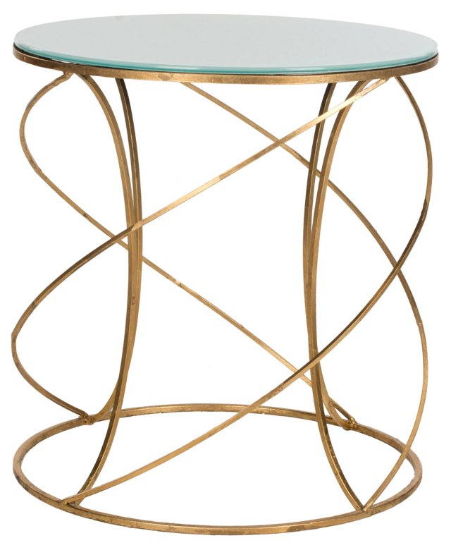 Carney Side Table, Gold/White Glass