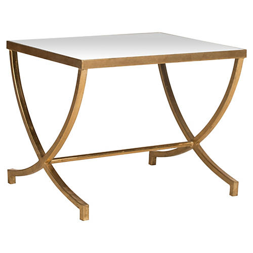 Levesque Side Table, Gold/Mirror