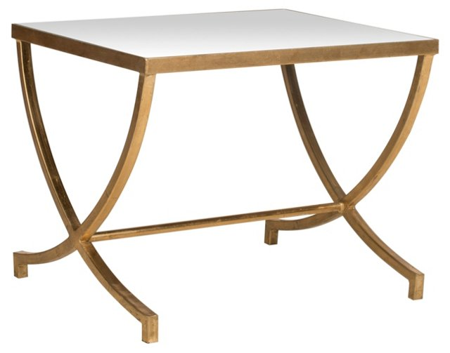 Levesque Side Table, Gold/Mirrored