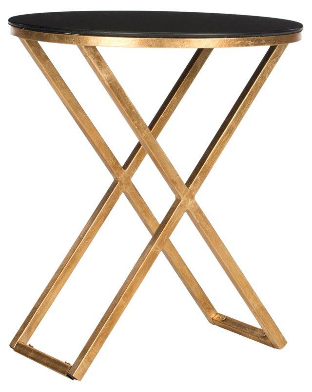Loren Cross Leg Side Table, Gold/Black