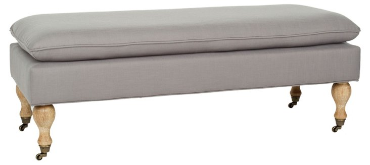 Nikolette Pillow-Top Bench, Gray