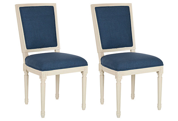 Navy/Cream Kearns Side Chairs, Pair