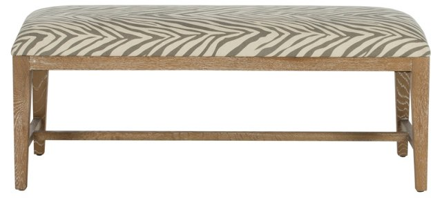 Stella Zebra Bench, Gray/Cream
