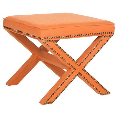 Linen Palmer Ottoman, Orange