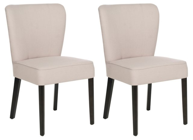 Beige Leopold Side Chairs, Pair