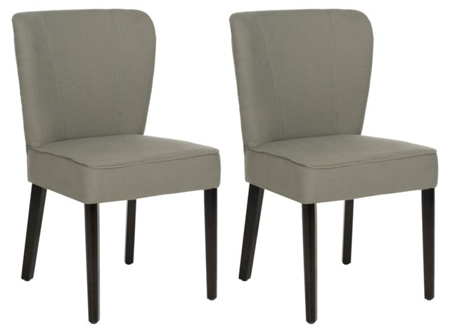 Sage Leopold Side Chairs, Pair