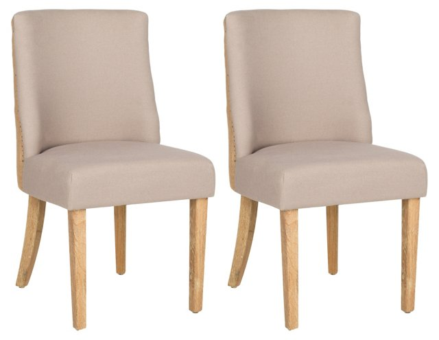 Beige Ivy Side Chairs, Pair