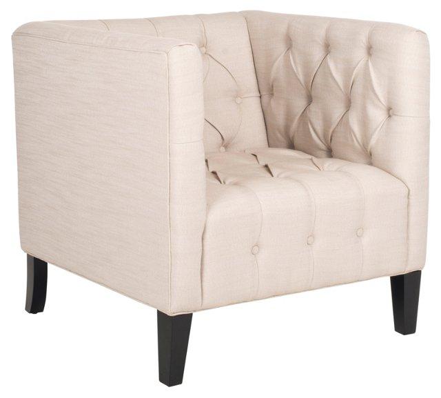 Leonard Club Chair, Beige/Black