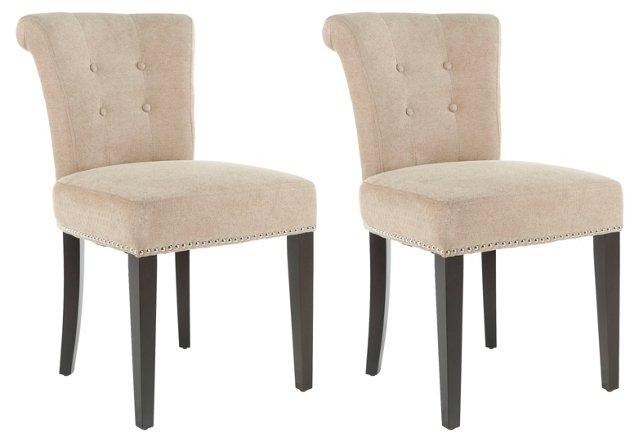 Beige Juliet Side Chairs, Pair