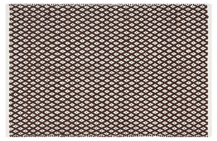Penny Rug, Brown/White