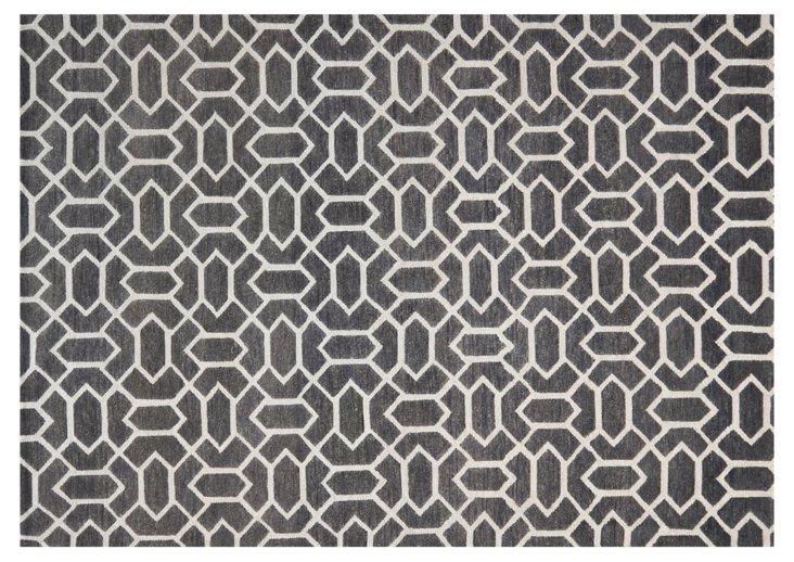 2'x3' Freddie Rug, Charcoal/Silver
