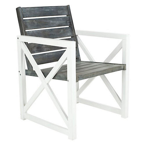Gray Outdoor Stratford Armchairs, Pair