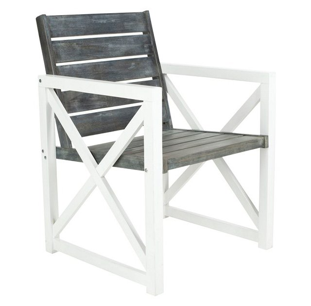 Outdoor Gray Stratford Armchairs, Pair