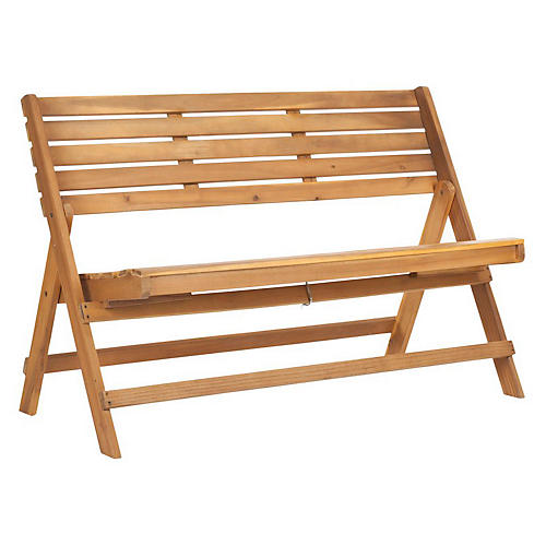 """Outdoor Cabot 48"""" Folding Bench, Natural"""