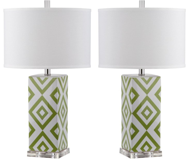 Diamonds Table Lamp Set, Green