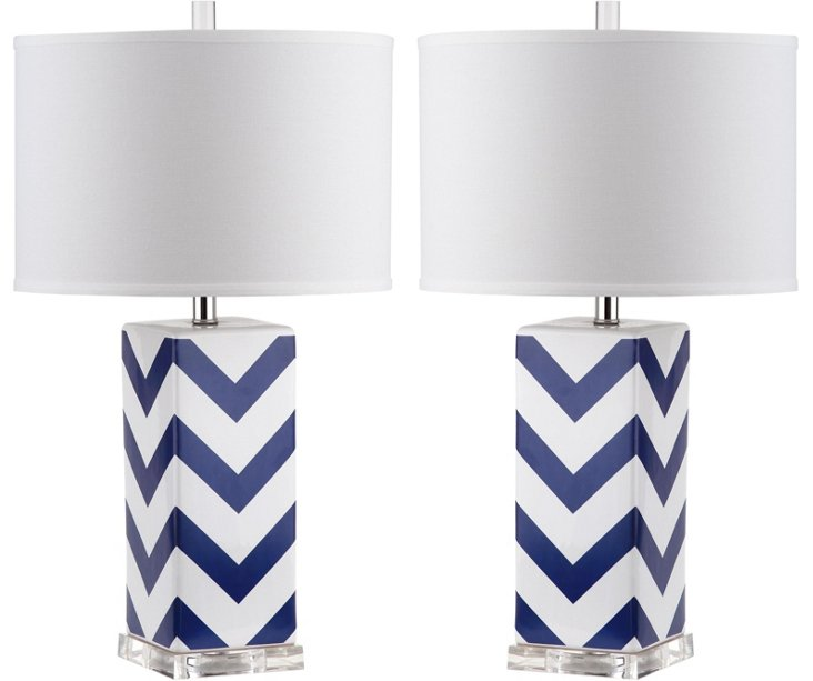 Chevron Table Lamp Set, Blue