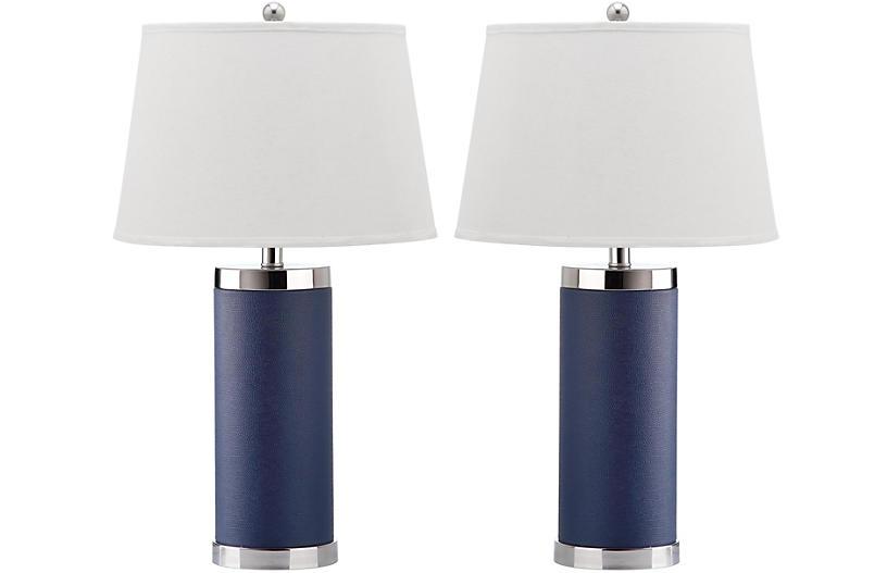 Column Table Lamp Set Navy