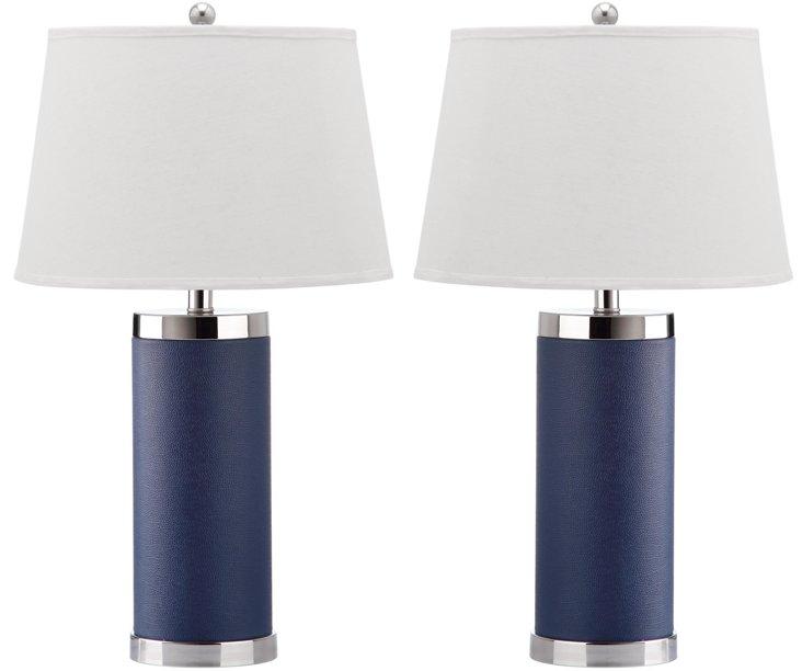 Column Table Lamp Set, Navy