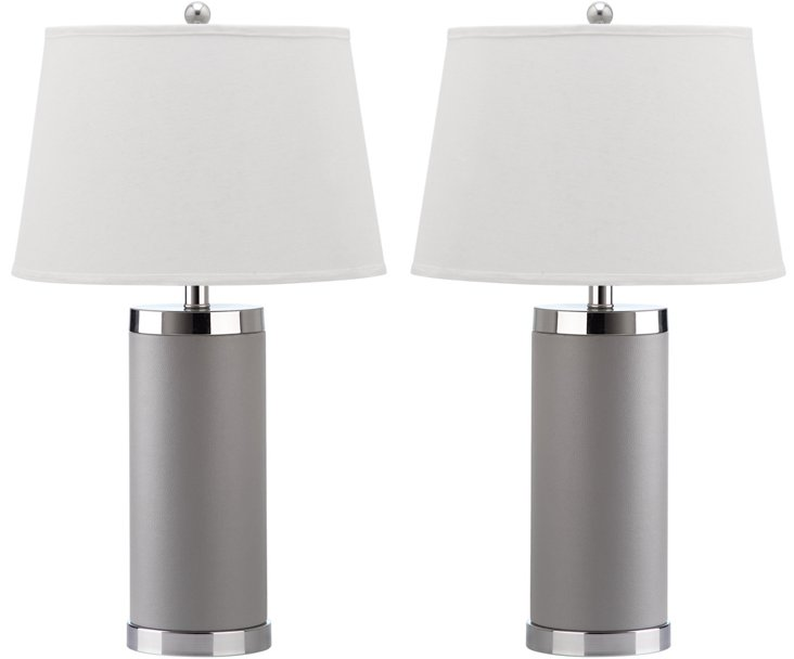 Column Table Lamp Set, Gray