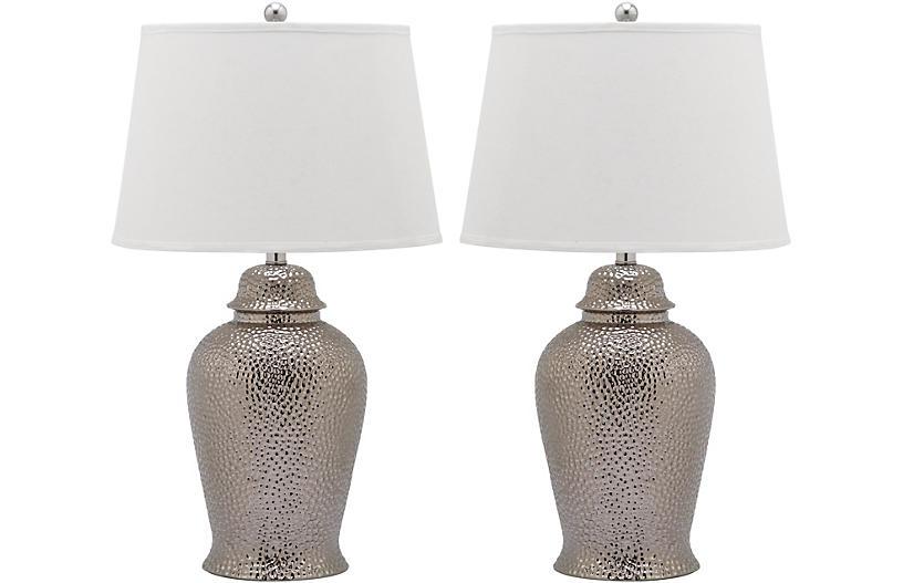 S/2 Metallica Ginger Jar Lamp, Silver