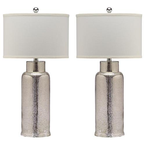 S/2 Kelli Table Lamp Set, Silver
