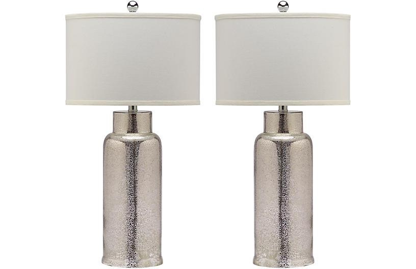S/2 Clara Table Lamp Set, Silver