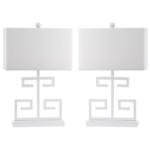 S/2 Greek Key Table Lamps, White