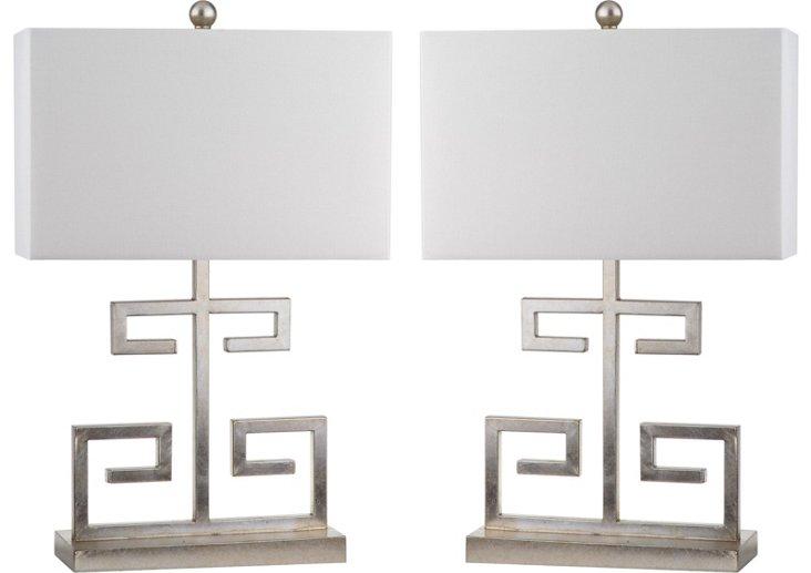 Greek Key Table Lamp, Silver