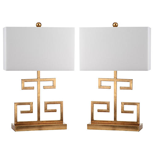 S/2 Greek Key Table Lamps, Gold