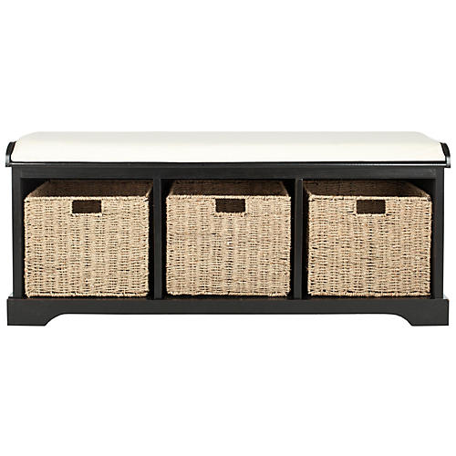Loren Storage Bench, Black/Ivory