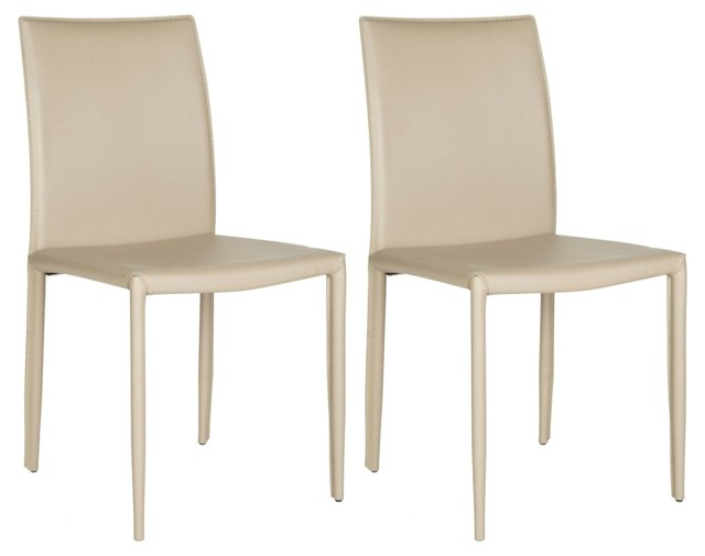 Beige Leather Caldwell Chairs, Pair