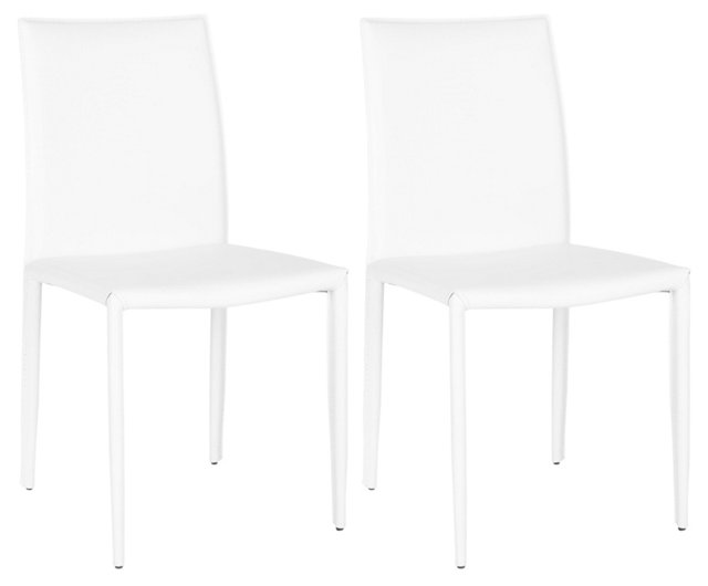 White Leather Croc Caldwell Chairs, Pair