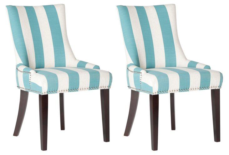 Aqua Lester Dining Chairs, Pair