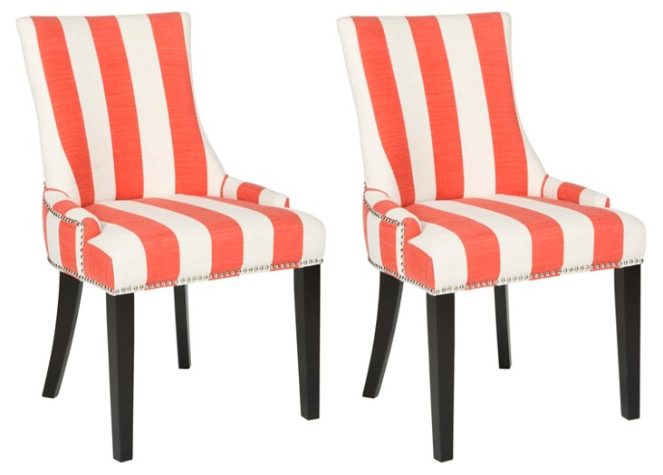 Orange Lester Dining Chairs, Pair