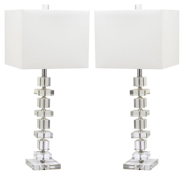 Campbell Table Lamp Set, Crystal/Chrome