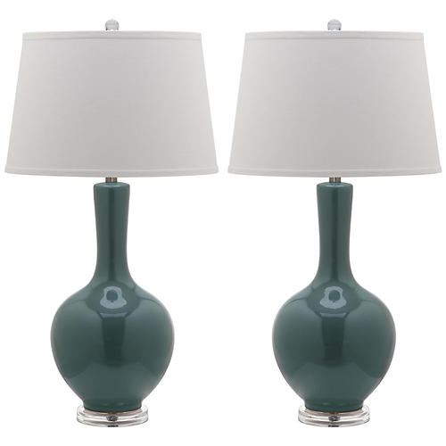 S/2 Blanche Table Lamps, Teal