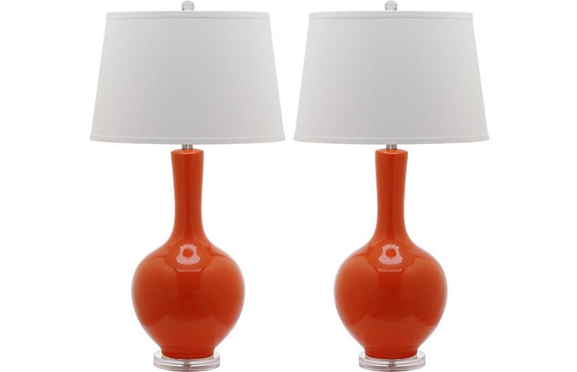 S/2 Blanche Table Lamps, Orange