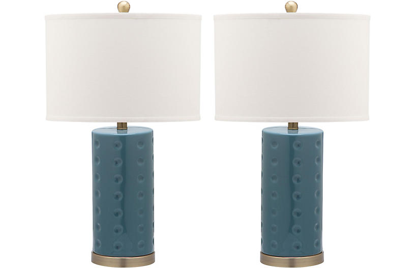 S/2 Beatrix Table Lamps, Marine Blue