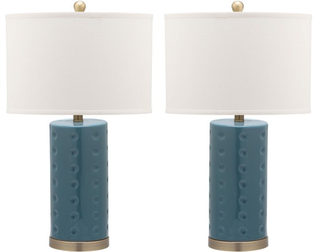 Roxanne Table Lamp Set, Marine Blue