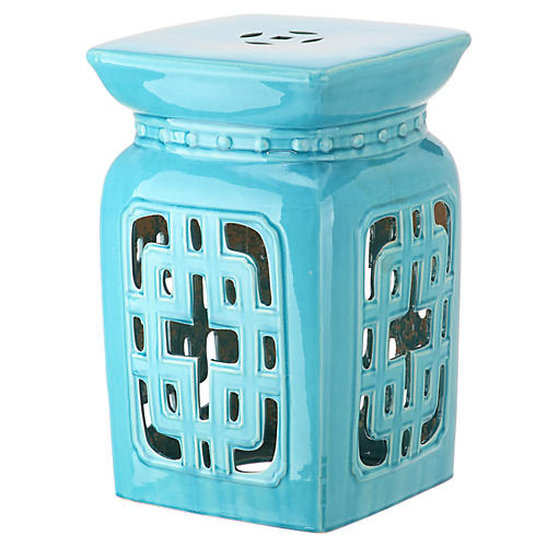 Eastern Garden Stool, Light Blue