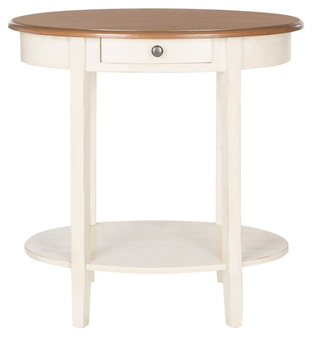 Karen Oval Nightstand, White