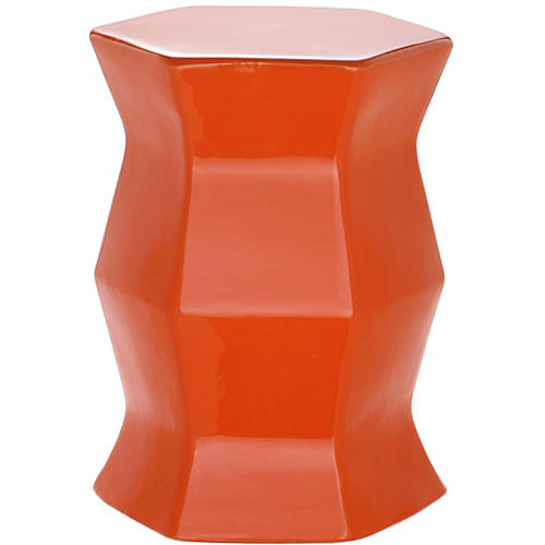Laurel Geometric Garden Stool, Orange