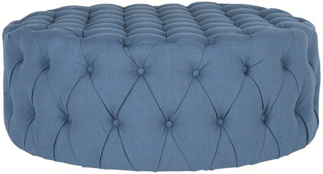 Rosie Tufted Ottoman, Blue