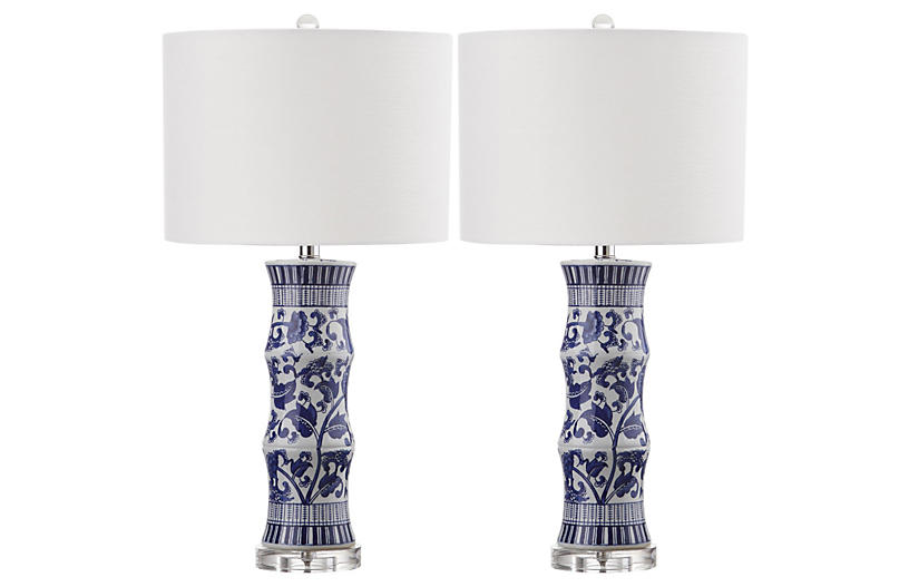 S/2 Hanneli Table Lamps, Blue/White