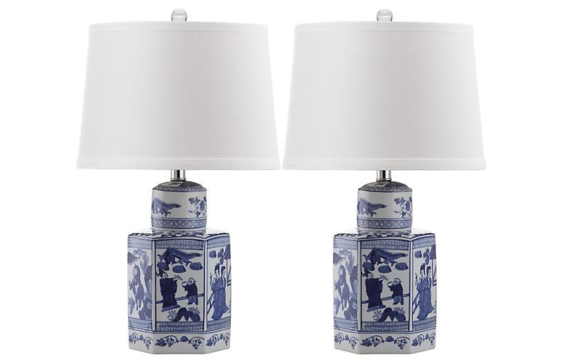 S/2 Junya Table Lamps, Blue/White