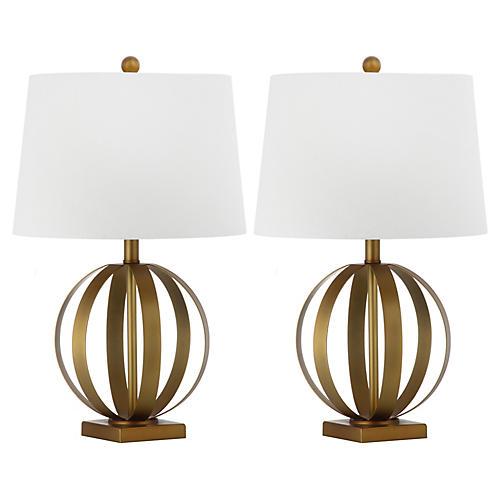 S/2 Euginia Sphere Table Lamp, Gold