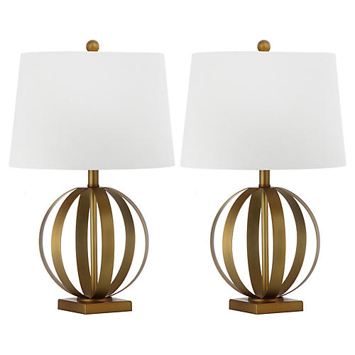 S/2 Euginia Sphere Table Lamp, Gold