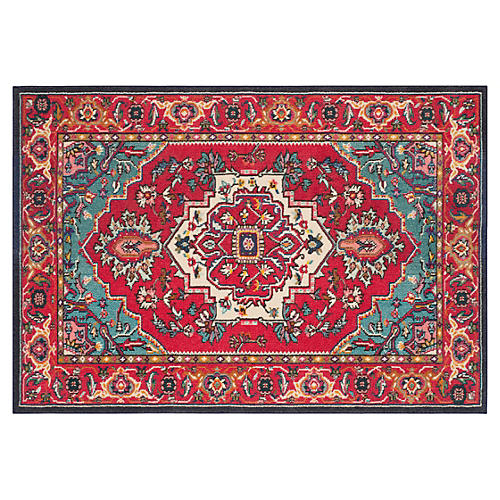 Noella Rug, Red/Turquoise