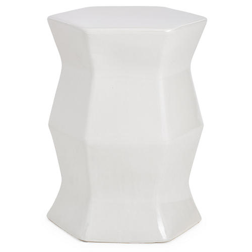 Laurel Geometric Garden Stool, Off-White