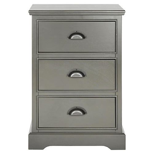 Annike 3-Drawer Nightstand, Gray